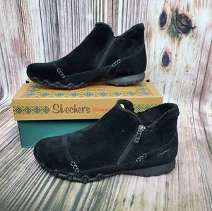 Skechers Black Suede Relax Fit Biker Ankle Boots